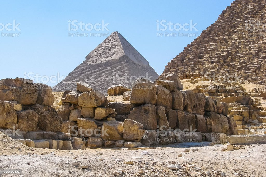 View of the Khafra pyramid from the foot of the Khufu pyramid stock photo