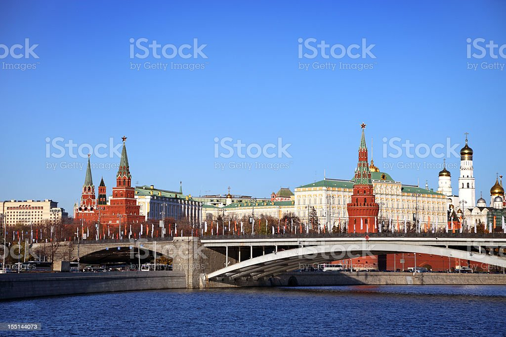 View of the Kremlin in Russia from river stock photo