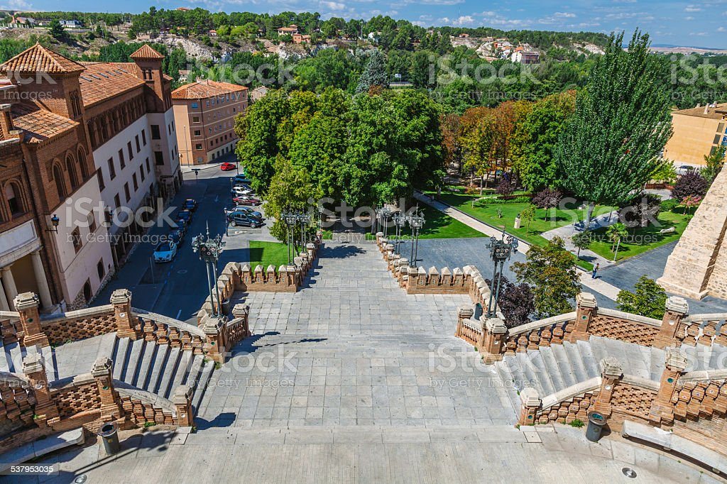 View of the La Escalinata in Teruel, Spain stock photo