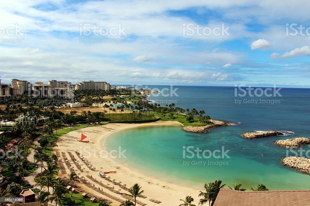 View of the lagoon and ocean stock photo