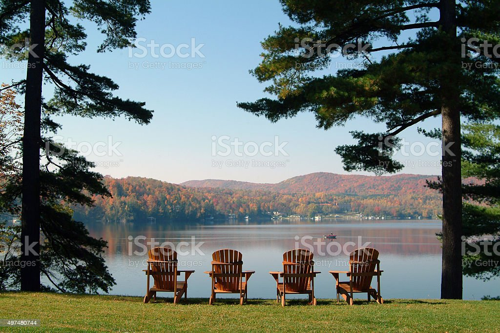 View of the lake in autumn stock photo