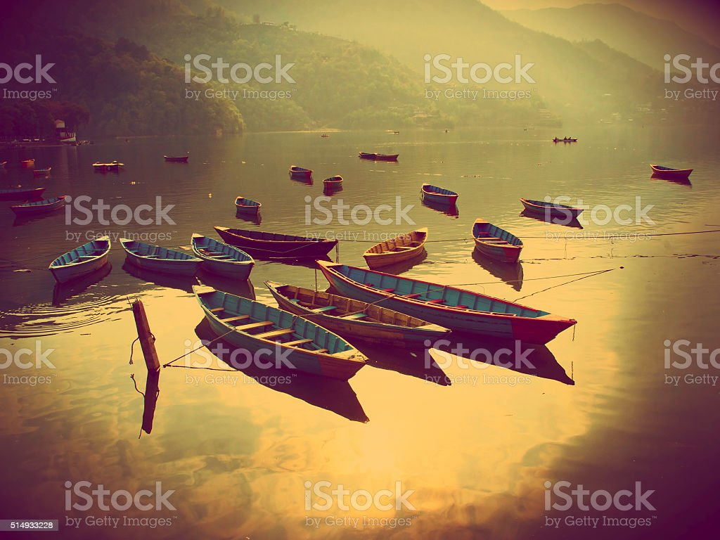 view of the lake in Pokhara stock photo