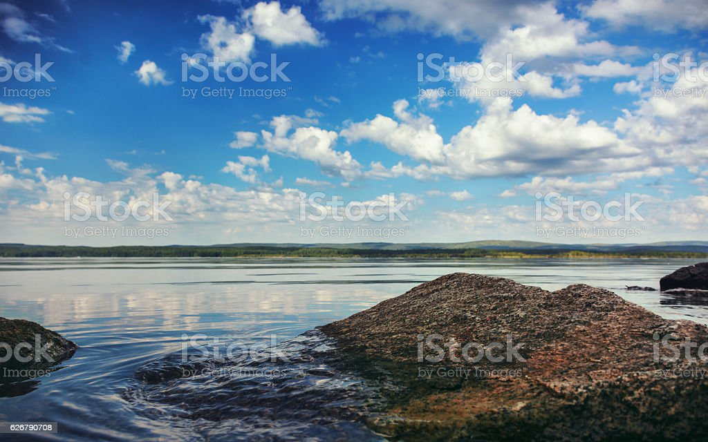View of the lake in the Urals stock photo