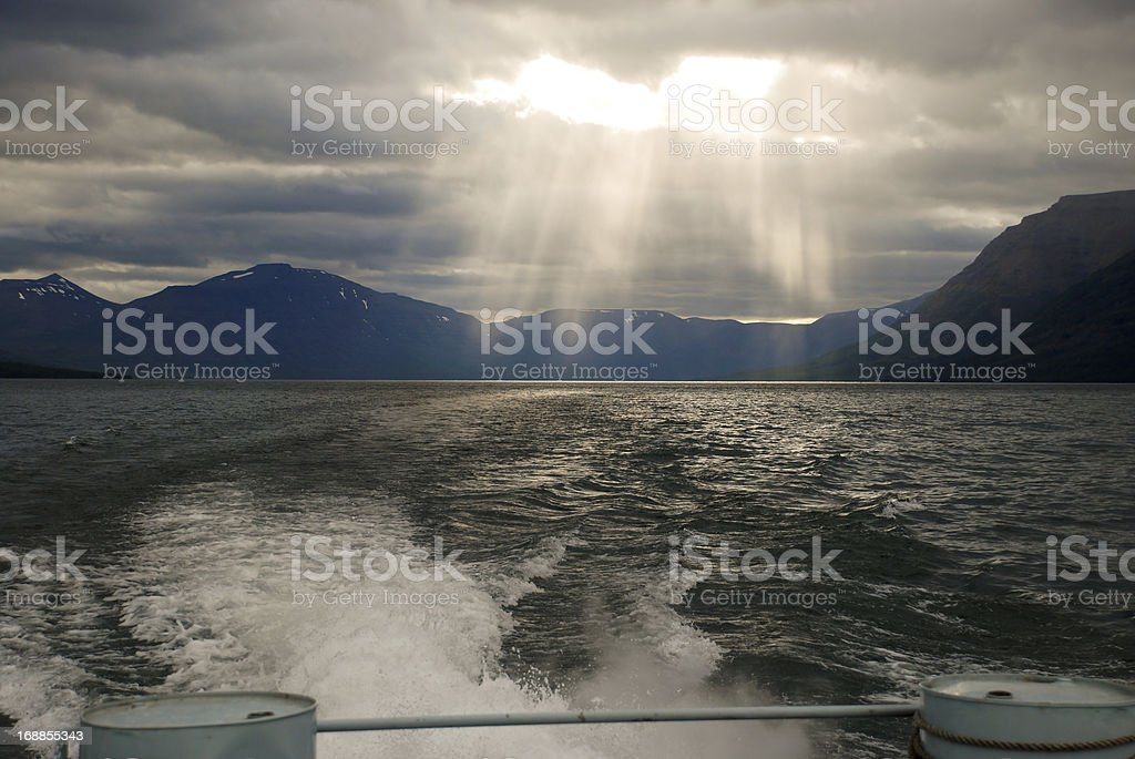 View of the lake Lama from  boat side. royalty-free stock photo