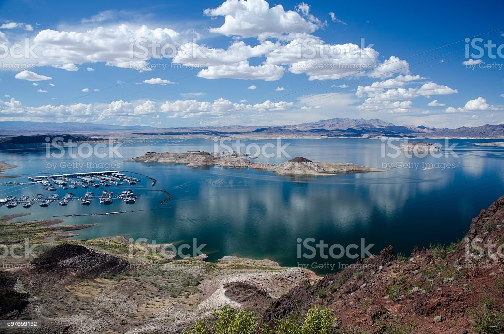 View of the lake Mead at springtime stock photo