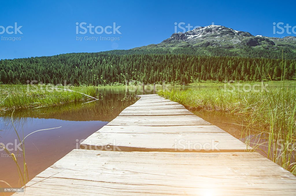 view of the lake of Staz stock photo