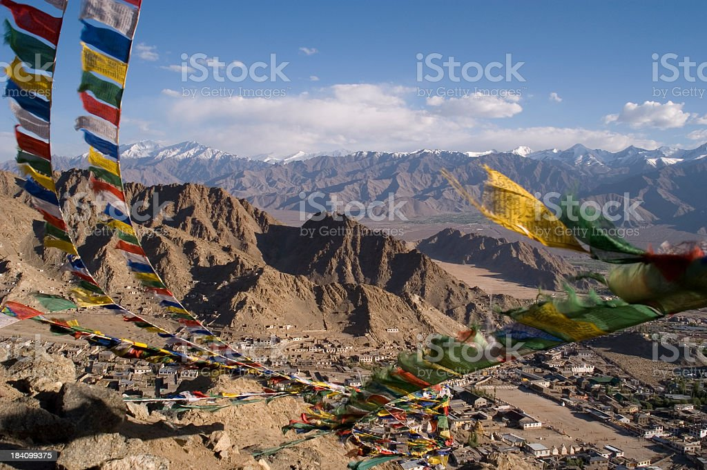 View of the Leh with nearby hills and villages stock photo
