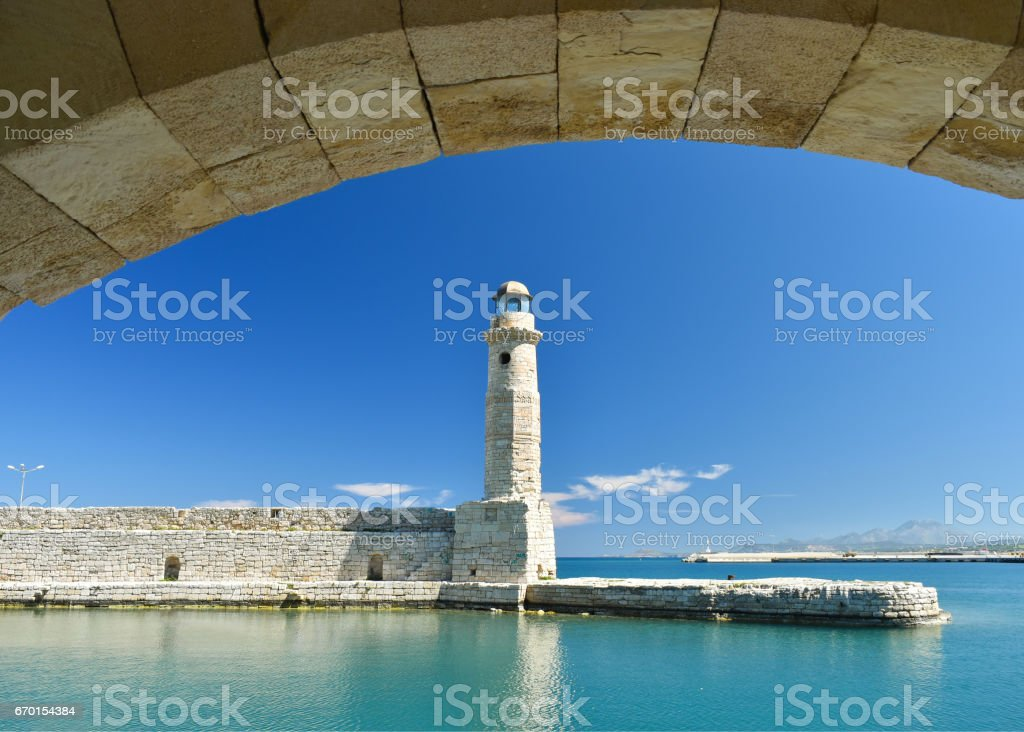 View of the lighthouse in the port of Rethymnon stock photo