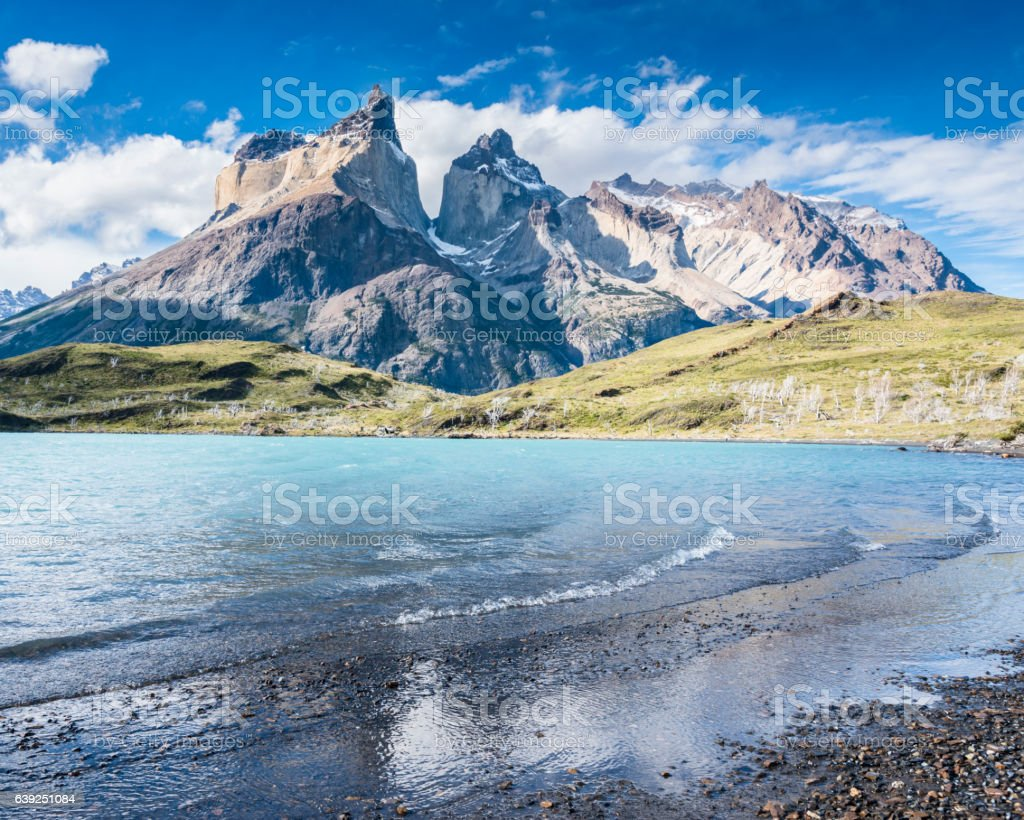View of the los Cuernos, Patagonia, Chile stock photo