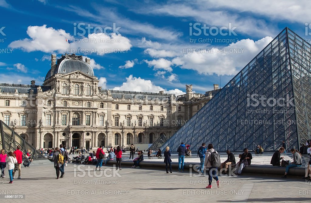 View of The Louvre Museum and Pei€™s Pyramid. stock photo