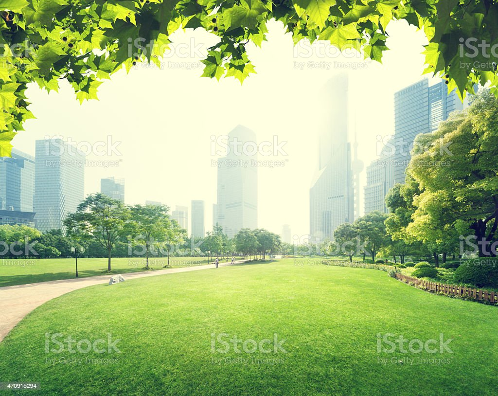 View of the Lujiazui district in Shanghai from a park stock photo