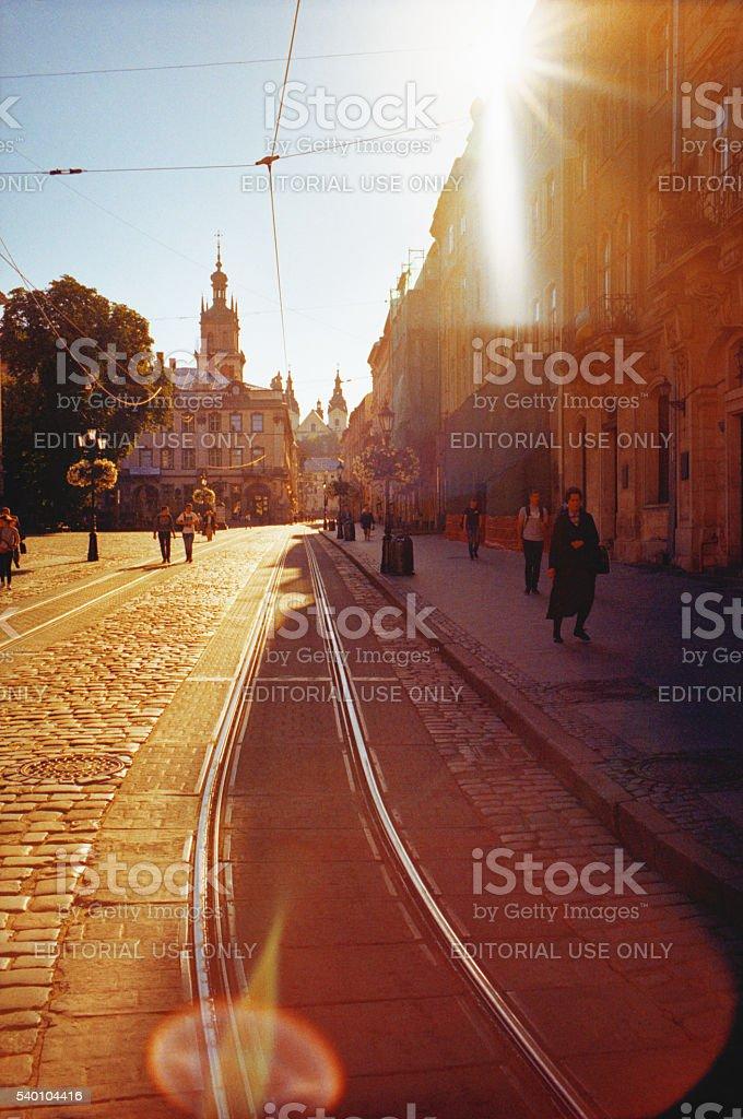 View of the Lviv streets. Ukraine stock photo
