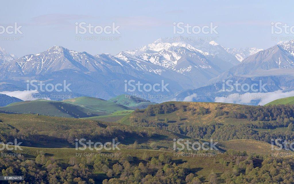 View of the main Caucasian ridge from the pass, Gumbashi. stock photo