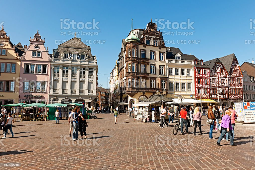 View of the main market in Trier stock photo