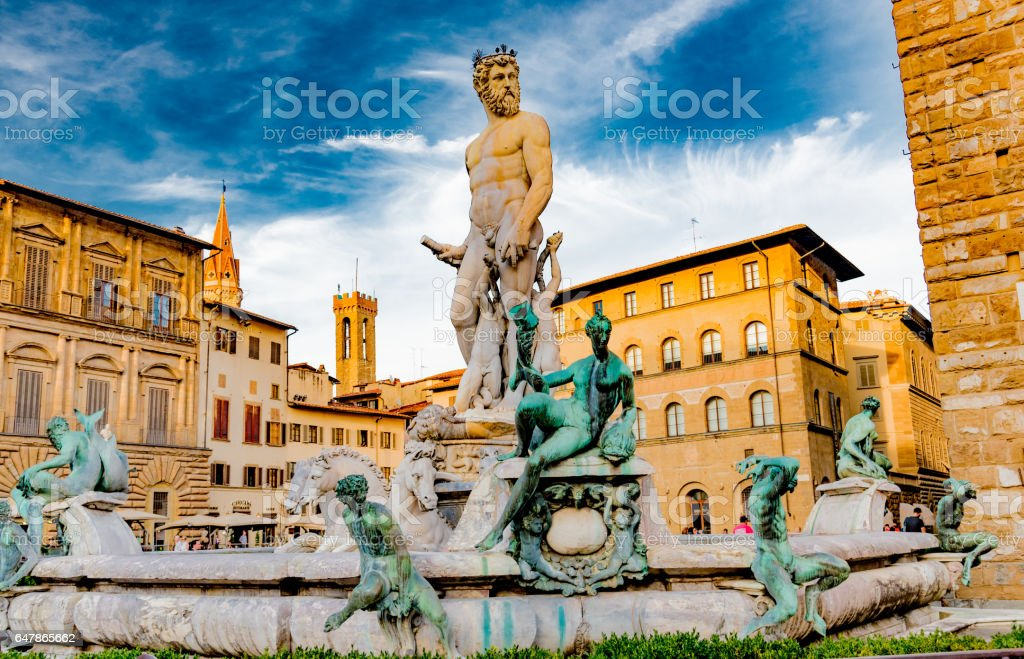 View of the main square in Florence stock photo