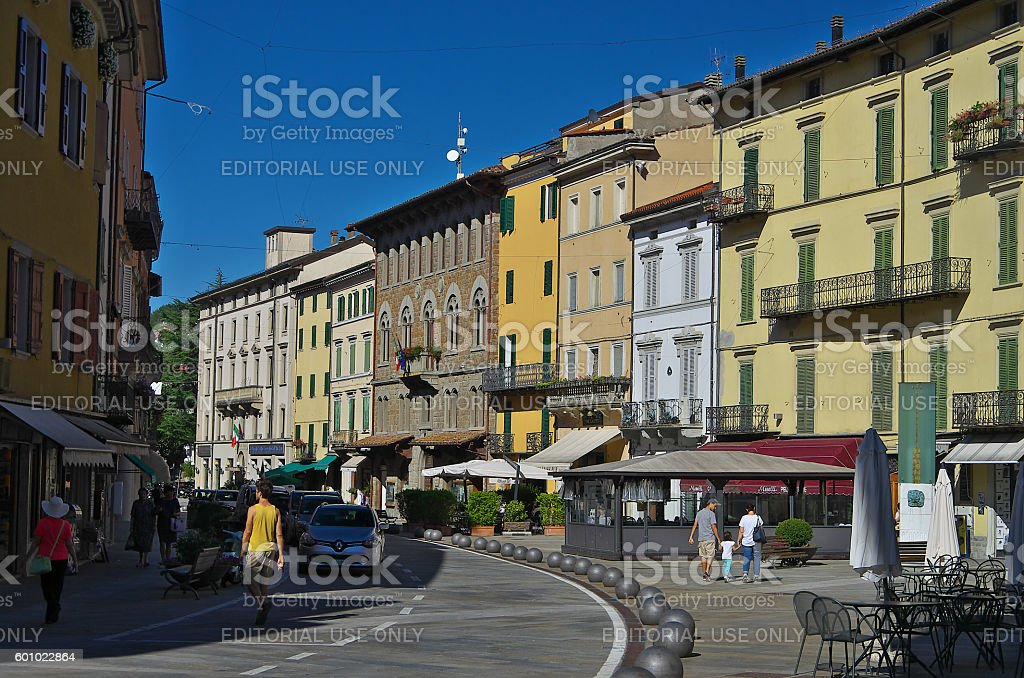 View of the main square of Porretta Terme. stock photo