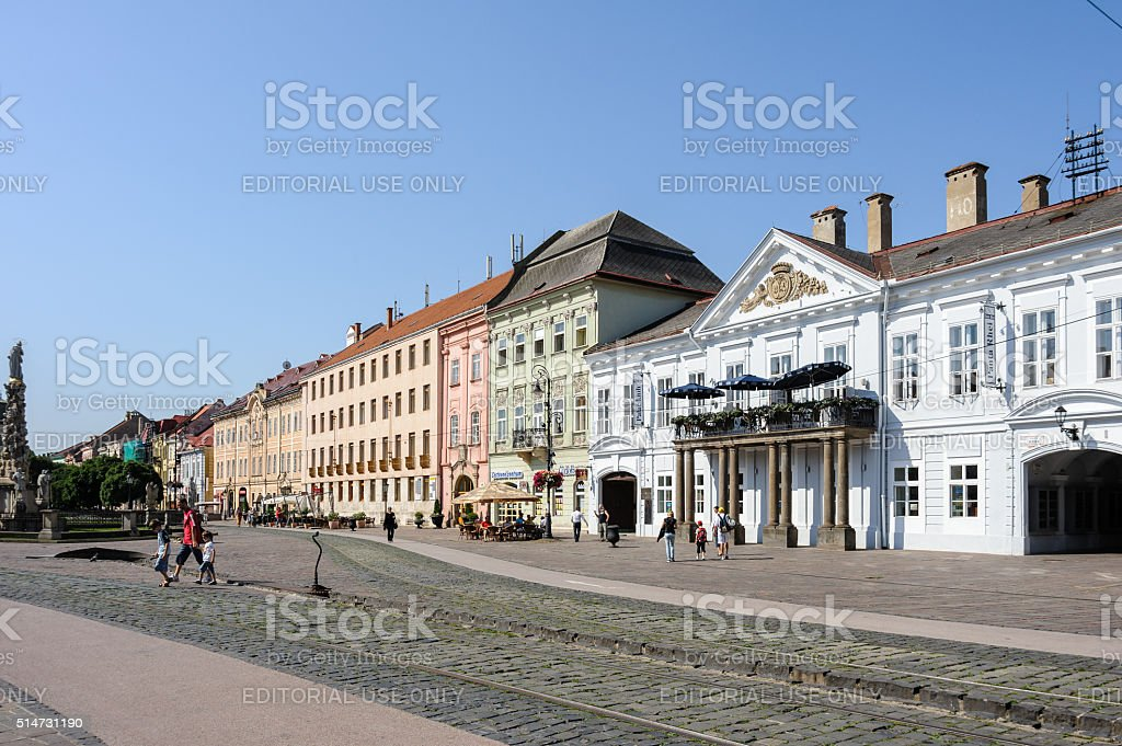 View of the main street buildings in Kosice stock photo
