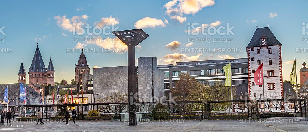 view of the Mainz Cathedral and modern architecture stock photo