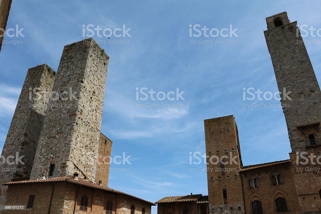 View of the many medieval towers, San Gimignano Tuscany Italy stock photo