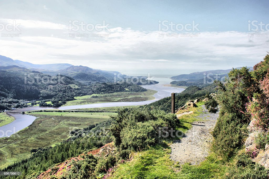 View of the Mawddach Estuary in Wales stock photo