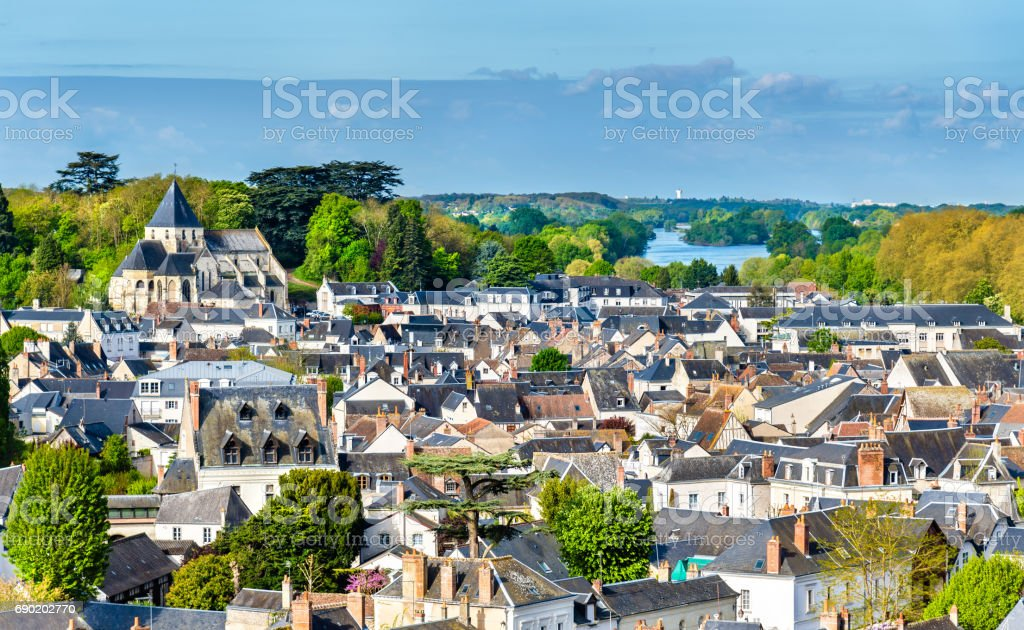 View of the medieval town of Amboise in France, the Loire Valley stock photo