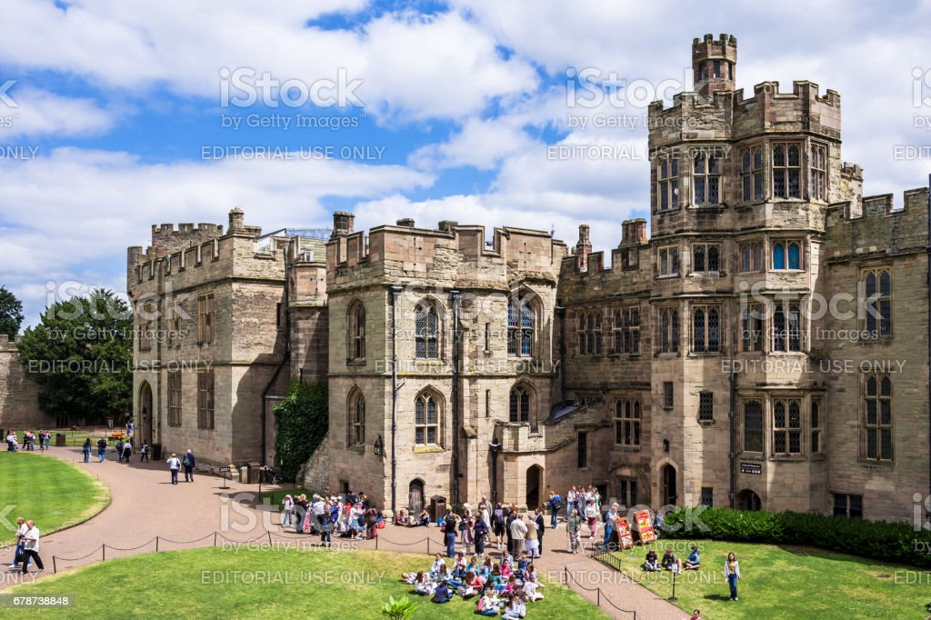 View of the medieval Warwick Castle. Warwickshire, England stock photo