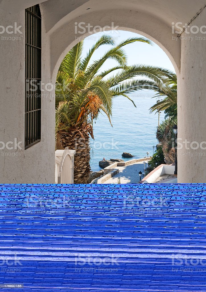 View of the Mediterranean Sea through an arch royalty-free stock photo