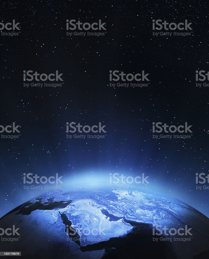 View of the Middle East in blue-tinted space stock photo