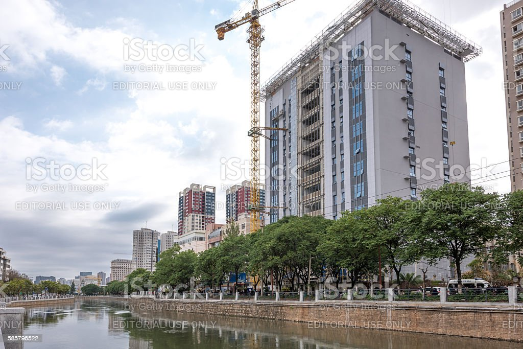 View of the modern architecture of Kunming. stock photo