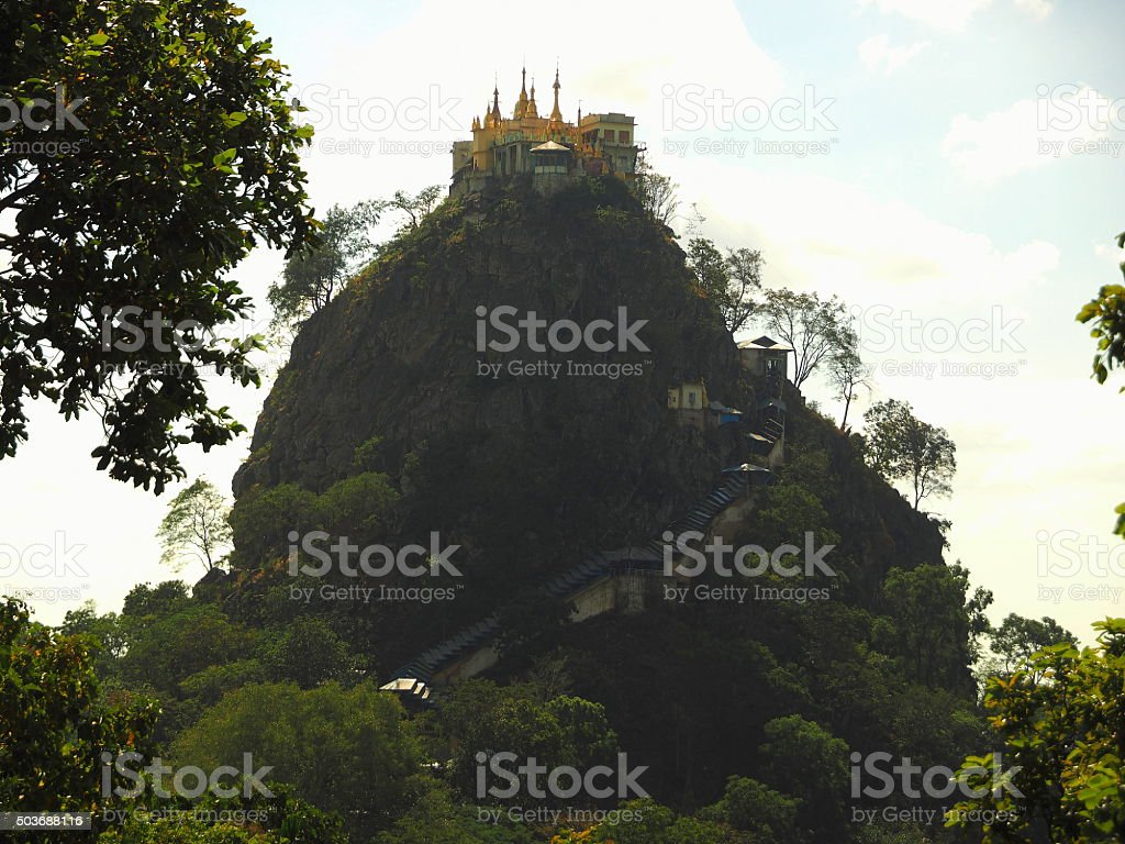 View of the monastary on mount Popa stock photo