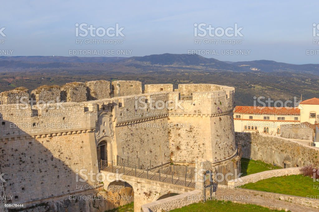 View of the Monte Sant'Angelo Castle, Italy (Apulia). stock photo
