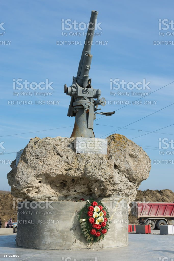 Taman, Russia - March 8, 2016: View of the monument to the Soviet paratroopers in the Tuzla Spit - Lender gun with armored BKA 73 Azov flotilla Black Sea Fleet, who died 11.02.1943 in Kerch-Eltigen Operation stock photo