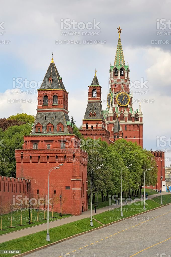 View of the Moscow Kremlin and Vasilevsky descent stock photo