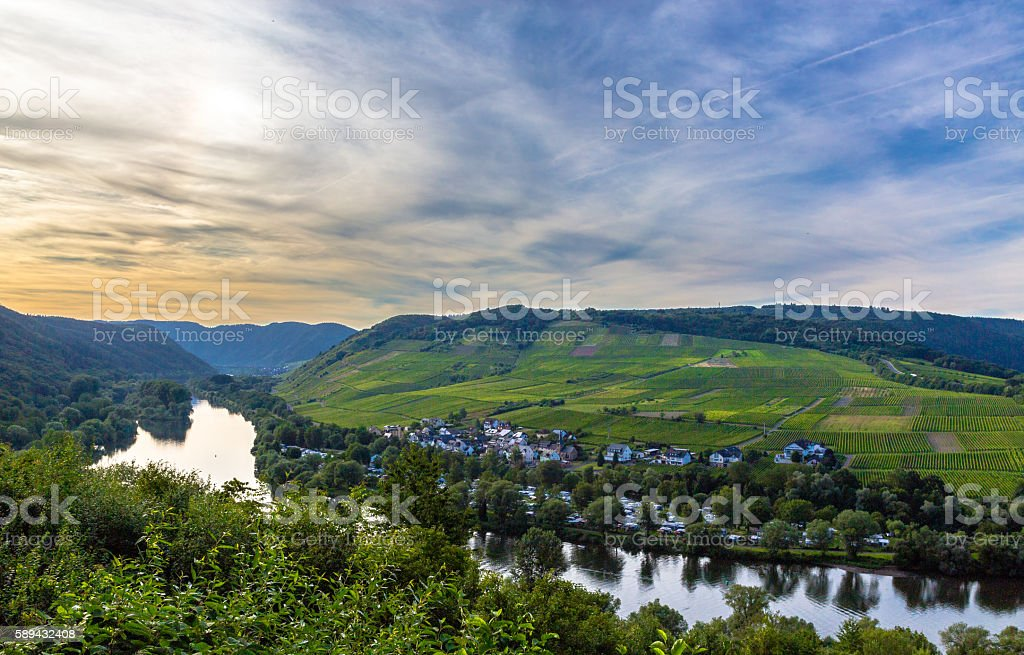 View of the Moselle valley at sunset Panorama stock photo