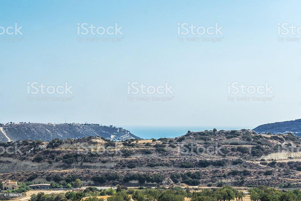View of the mountain range, Cyprus. stock photo