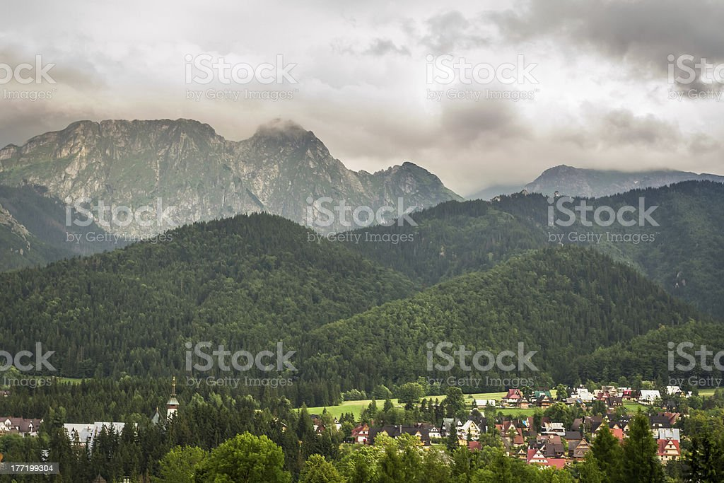 View of the mountain village in summer royalty-free stock photo