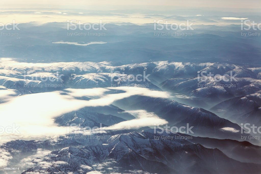 view of the mountains from a height of Mongolia stock photo