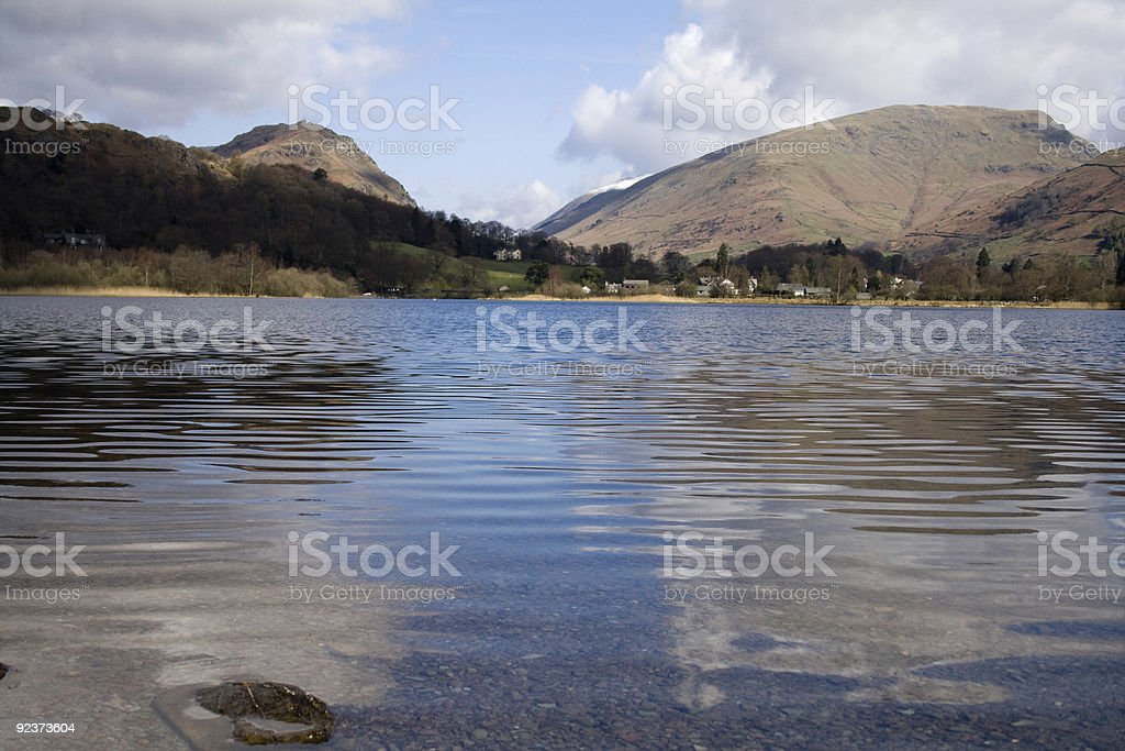 View of the mountains from Lake Grasmere stock photo