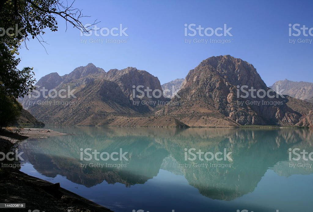 View of the mountains in the lake with clear blue sky royalty-free stock photo