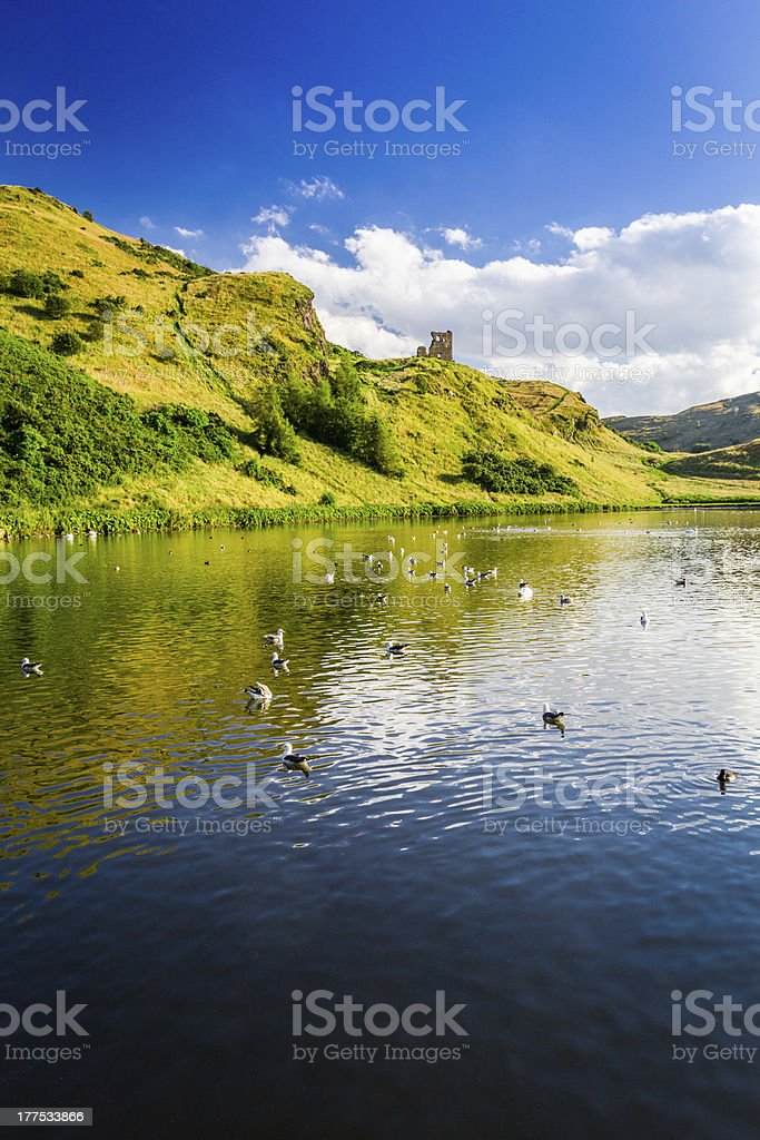View of the mountains reflected in a lake royalty-free stock photo