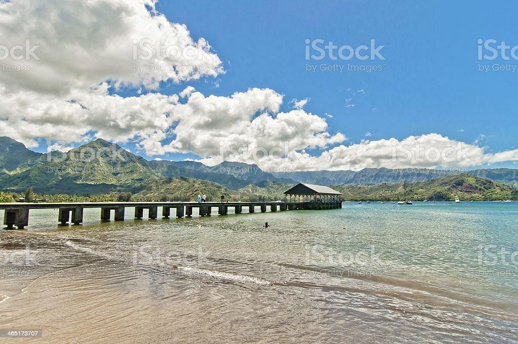 View of the natural paradise of Hanalei Bay in Kauai, Hawaii stock photo