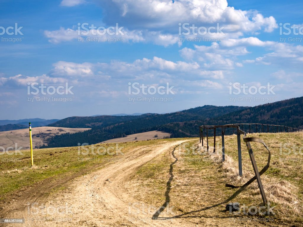 View of the nearby Eastern Beskids from the summit of Ciertaz, Slovakia. stock photo