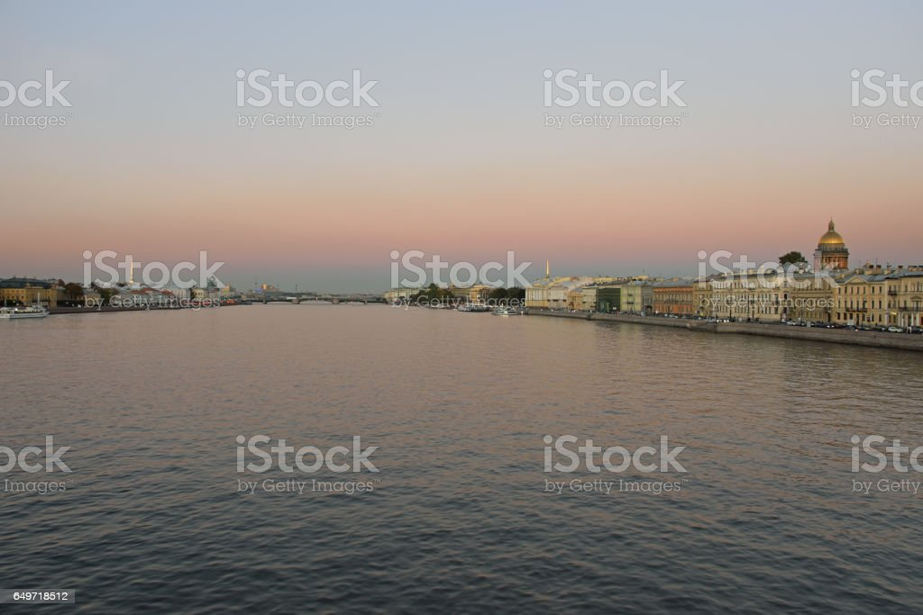 View of the Neva river, Palace bridge, the English embankment, S stock photo