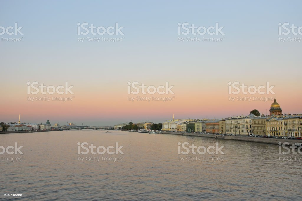 View of the Neva river, Palace bridge, the promenade des Anglais stock photo