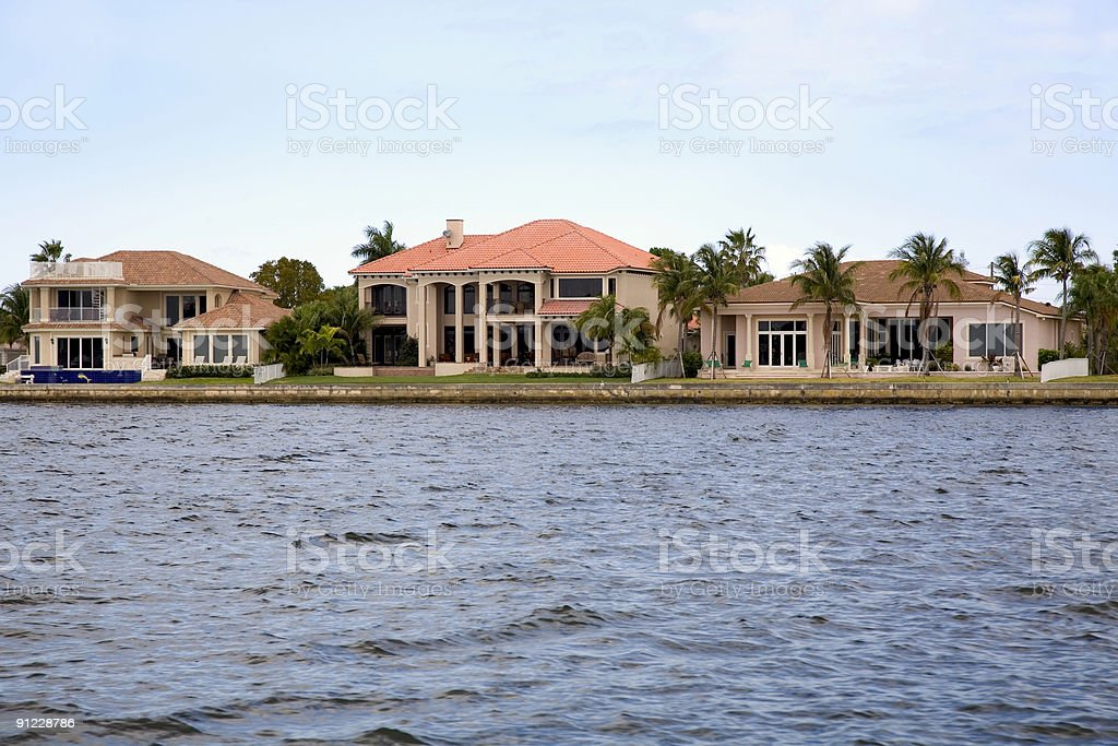A view of the nice homes in Florida along the waterfront stock photo