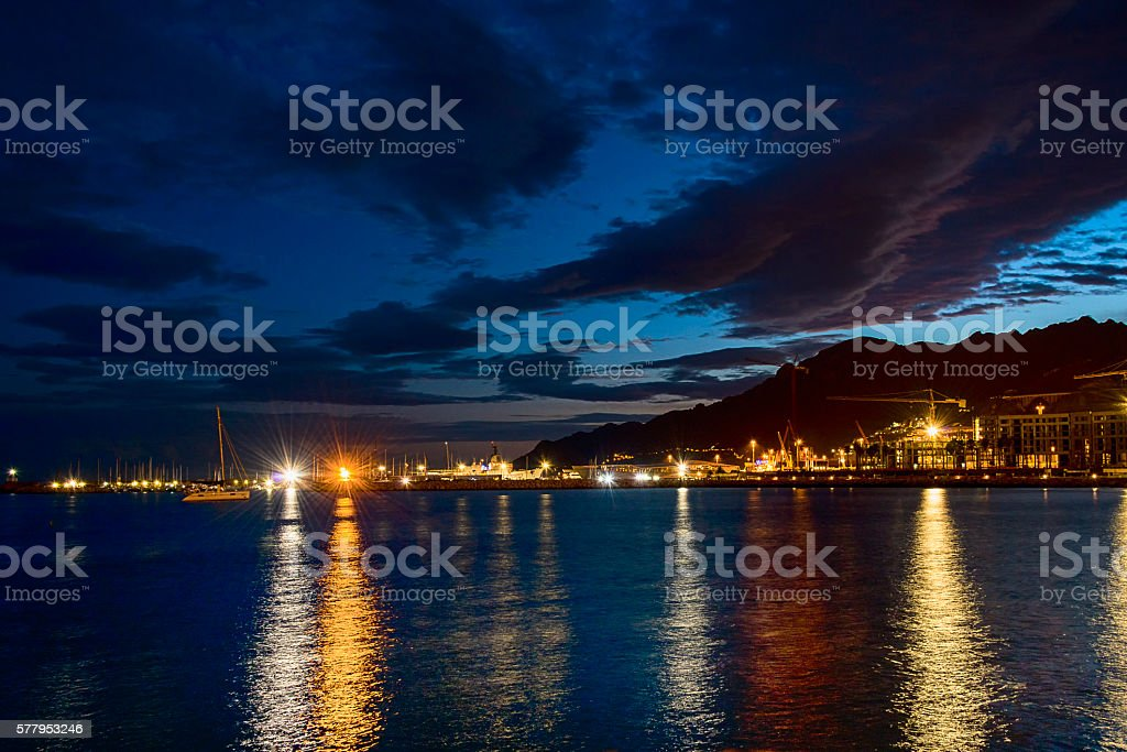 View of the night Port Salerno stock photo