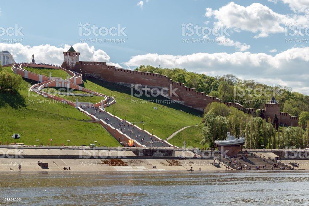 View of the Nizhny Novgorod Kremlin and Chkalov Stairs stock photo