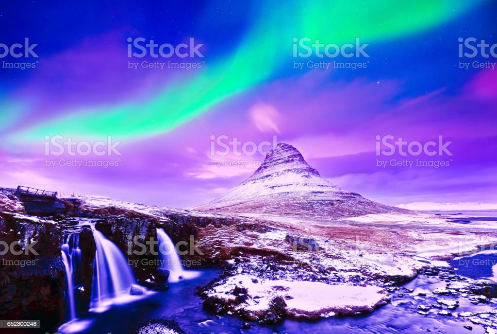 View of the northern light in Iceland stock photo