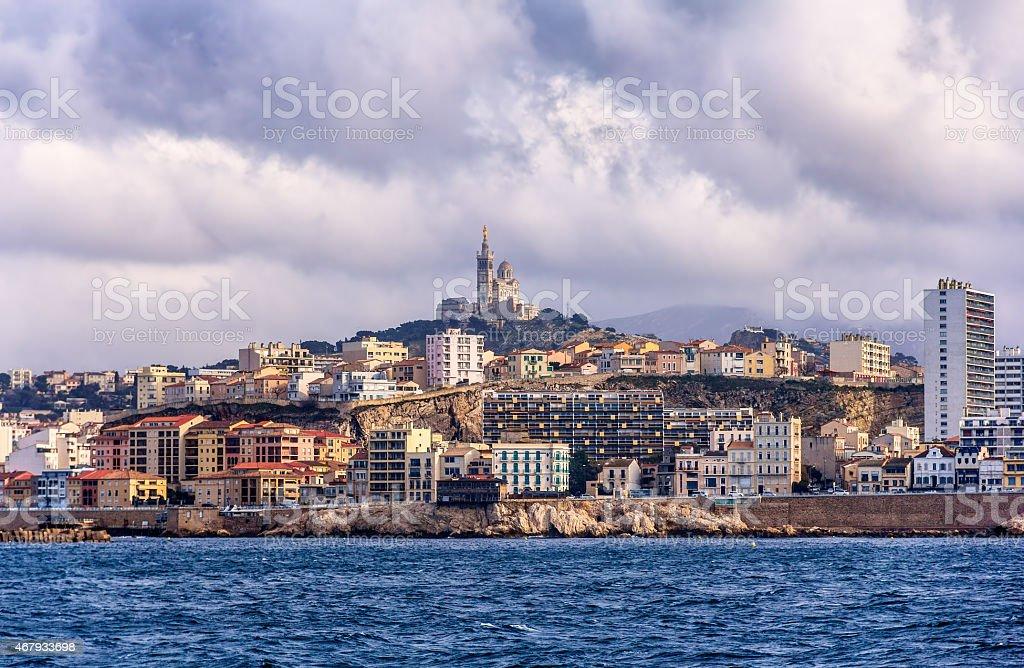 View of the Notre-Dame de la Garde in Marseille stock photo