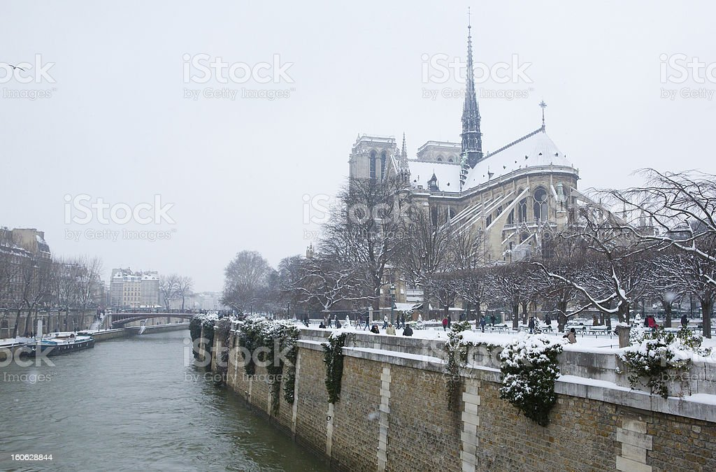 View of the Notre-Dame de Paris on a winter day royalty-free stock photo